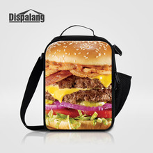 Dispalang Women Fashion Lunch Bags For Office 3D Printing Hamburger Cooler Bag Thermal Picnic Bag Kid Mini Lunch Sack For School(China)