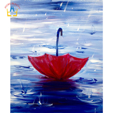Diamond Embroidery Full Square Rhinestones Cover On Canvas DIY Diamond Mosaic Home Decor Painting Red Umbrella In The Rain SK450