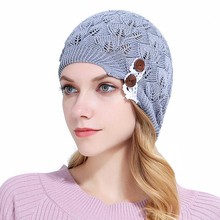 New Fashion Knitting Hats Women Lace Buttons Cap Hot Quality Chapeau for Lady Spring Autumn Appearl Accessories Hut(China)