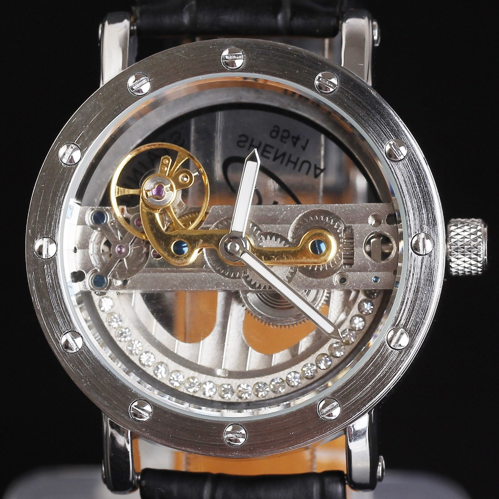 Luxury Brand SHENHUA Diamond Watches Men Women Silver Gold Transparent Skeleton Crystal Inlaid Men Automatic Mechanical Watch<br>