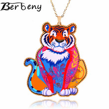 Berbeny The latest Arrival Trendy Faoums Brand Design Acrylic Jewelry Tiger Pendant Necklace Woman Girl Fashion Accessories