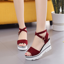 HYLXJ NEW Summer Korean muffin fish head women sandals with platform sandals wild simple shoes shook with students in hot SELL