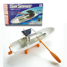 "Free shipping ""sun seeker"" Solar or electric energy dual drive boat  Assembled Model ship Toy Children DIY Gift two oars"