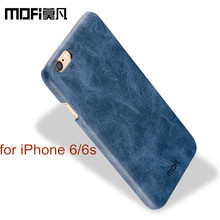 MOFi logo original back case for iphone 6 leather cover protect for apple iphone 6s case man for iphone6 brown luxury(China)