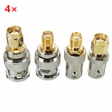 4pcs SMA Male to BNC Male BNC to SMA Type Male Connector Test Converter Kit Adapter Wholesale Price