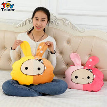 Triver Toy Cute rabbit blanket plush toy doll pillow cushion portable reelable car coral fleece nap blanket gift free shipping(China)