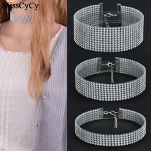 MissCyCy Elegant Wide Crystal Rhinestone Choker Necklace Women Fashion Pave Rhinestones Chokers Jewelry Christmas Gifts