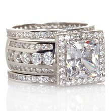 choucong Luxury Women Jewelry Full Round AAAAA zircon cz ring 925 Sterling Silver Women Engagement Wedding Band Ring(China)