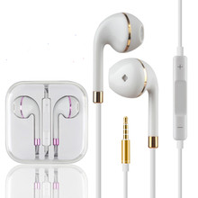High quality stereo earphone wire control headset earbuds bass headphone earplugs with mic for  iPhone5s / 6 / 6s 4s xiaomi