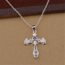 Explosion models sell well  silver plated  jewelry fashion beautiful women sparkling crystal CZ cross necklace sweet style