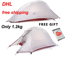 DHL free shipping NatureHike 2 Person Tent ultralight s20D silicone fabric Tent Double-layer Camping Tent Outdoor Tent