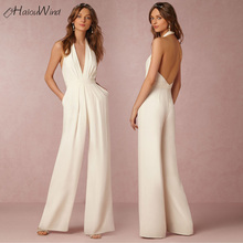 Buy Women Elegant Backless Jumpsuits Sexy Halter Neck Sleeveless Rompers Wide Leg Ladies Overalls Combinaison Femme Wedding Jumpsuit