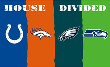 Indianapolis Colts vs Denver Broncos vs eagles vs Seattle four teams house divided flag with metal grommets(China)