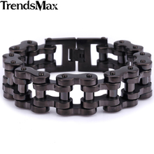 Trendsmax Sport Men Chain Boys Biker Motorcycle Link Black Tone 316L Stainless Steel Bracelet Wholesale Jewelry Drop Ship HBM43