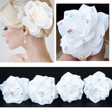 Wholesale 3Pcs White Lace silky flower crystals Bridal Wedding Headpiece Hair Clips