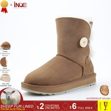 INOE real 양 가죽 가죽 women suede short winter 눈 boots 와 button 울 퍼 안감은 은은한 woman 겨울 shoes black brown 35-44(China)