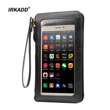 "IRKADD 6.3"" Crazy Horse Wallet Universal Bag for iPhone 6s Plus Lanyard Holster Touch Screen Case for Samsung Galaxy Note4 Note5"