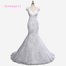 Buy Plus Size 2017 Vintage Wedding Dresses Mermaid Cap Sleeves Appliques Lace Wedding Gown Bridal Dresses Bridal Gown Real Photos for $149.00 in AliExpress store