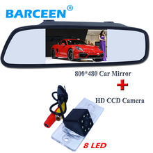 "wire car mirror  4.3""+car parking camera hd ccd 8 led apply for VW Touareg/POLO(3C)/ Cayenne /Golf/Old Passat/Fabia/Poussin"