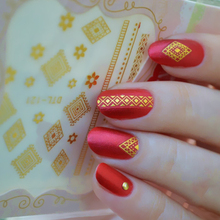 Tribal Dreamy Flower 3D Nail Stickers Gold Silver Transfer Adhesive Water Decal Nail Art Decorations 1 Sheet  DTL121