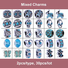 30pcs Mix Style 2016 Blue Owl Heart Rabbit Flower Butterfly Dragonfly Charms Silver Beads Fit Pandora Bracelet DIY Women Jewelry