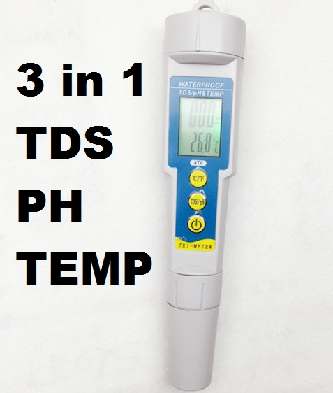 5pcs/lot 3 in 1 Water Quality Purity tester digital -50C-70C pH Monitor Pocket 0.01 Aquarium TDS meter temperature Analyser<br><br>Aliexpress