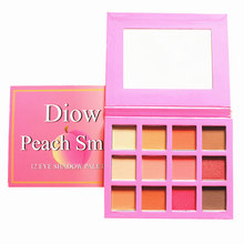 DIOW 12 Color High Pigmented Eyeshadow Pallete Peach Shimmer Matte Pressed Powder Beauty Makeup Eyeshadow Palette Drop Shipping(China)