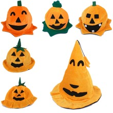 New Women Halloween Pumpkin Hat Character Men Hats Cap Scarf Party Items 4 Type Adults or Kids Halloween Cosplay rescent Sticker(China)