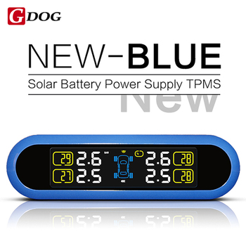 Синий случае портативный TPMS Автомобилей Беспроводная Система Контроля Давления в Шинах 4 внешний/внутренние Датчики На 4 колеса Автомобилей Солнечный мощность