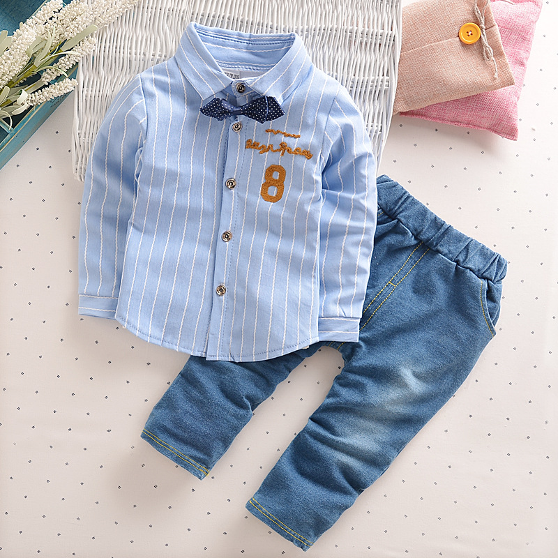 Hot Sale 2017 Spring Baby Boys Clothes Sets Lapel Stripe Shirt+Jeans 2 Pcs Kids Casual  Clothes Sets Child Infant Cotton Suits <br><br>Aliexpress