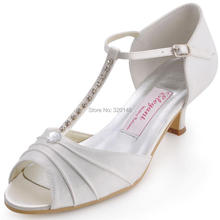 Women Shoes White Ivory Low Heel T-Strap Rhinestones Pumps Satin Bride Bridesmaid Prom Wedding Bridal Shoes Woman Sandals EL-035