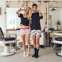 PINK HEROES Men Underwear Panties Boxers Fashion Cartoon Print Home Couple Underwear Cotton Plain Striped Arrow Pants Boxer(China)
