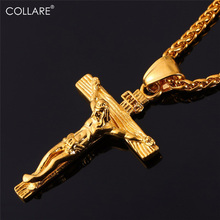 Collare INRI Crucifix Cross Necklace Gold/Rose Gold/Black Gun Color Stainless Steel Chain For Men Jewelry Jesus Piece P166(China)