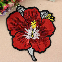 Patch clothes sequins sewing biker patches for clothing embroidery patches 22cm cute red coral flowers Logo badge free shipping