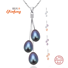 [Yinfeng]Hot Sale Collier 100% Genuine 925 Sterling Silver Pendant Necklace Multi-color Freshwater Pearl Jewelry 8-9mm Pendants