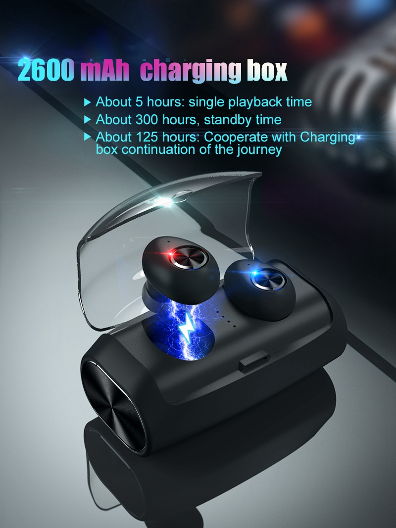 Mini Wireless Headphones Bluetooth Headset Noise Cancelling Earbuds TWS Stereo Earphone With Mic Charging box Bass Headphones