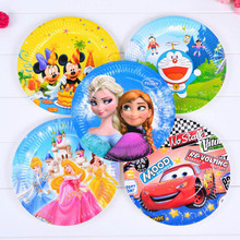 6pieces New Good Cartoon Theme Mickey Multicolor Disposable Cake Paper Plates Dish 7'' inch Birthday Party Decoration Cake Pan(China)