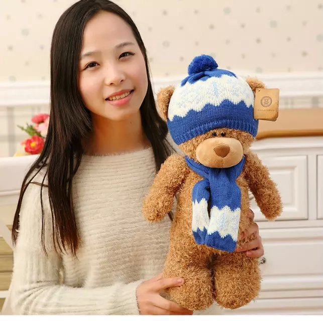 middle cute plush teddy bear toy lovely dark brown teddy bear with blue hat and scraf doll gift about 40cm<br>