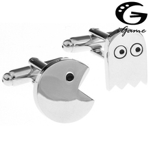 Factory Price Retail Cufflinks For Men Brass Material Cute Pacman Design Cuff Links(China)