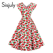 Buy Sisjuly women vintage dress strawberries print summer dress red knee length sleeveless s line party lady fashion vintage dress for $13.48 in AliExpress store