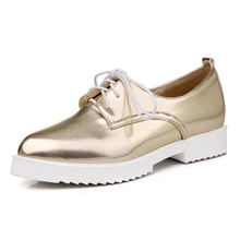 2016 Women Oxfords Gold Silver Brogue Shoes Woman British Style Creepers Patent Leather Flats Casual Women Shoes XWD4206(China)