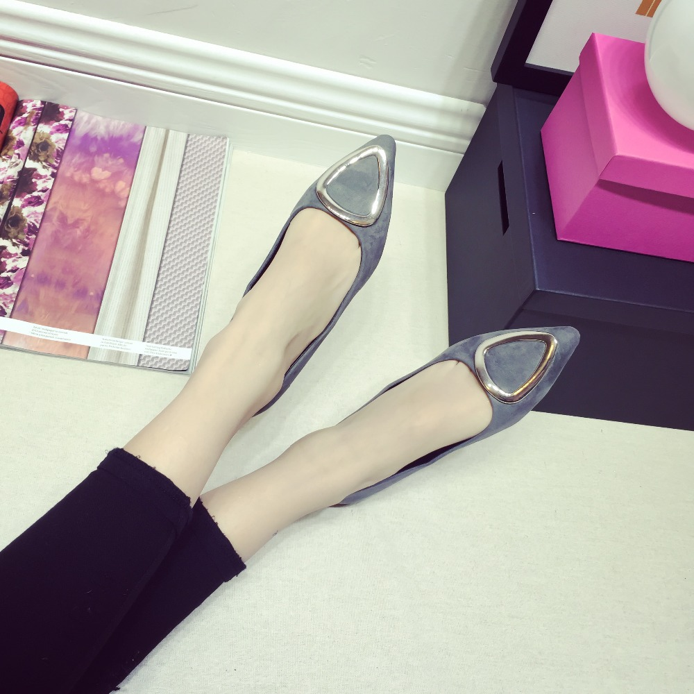 2017 New women flats soft bottom, comfortable suede shallow mouth pointed flat womens leisure shoes work shoes big yards<br><br>Aliexpress