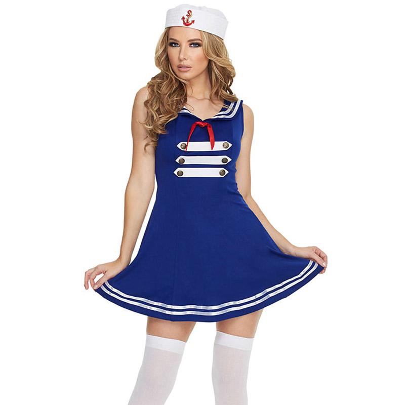 FGirl Halloween Costumes for Women Sexy Adult New Year Costume One Size Sexy Pin up Sailor Costume FG10906(China (Mainland))