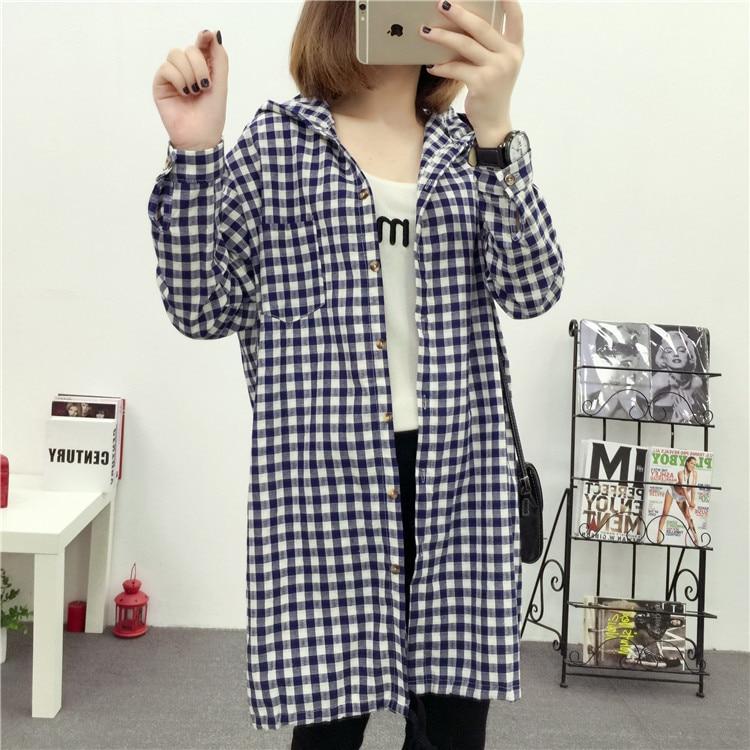 Brand Yan Qing Huan 2018 Spring Long Paragraph Large Size Plaid Shirt Fashion New Women's Casual Loose Long-sleeved Blouse Shirt 16 Online shopping Bangladesh