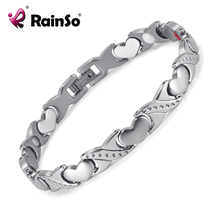 RainSo Lover's Titanium Magnetic Bracelet Germanium Negative Ion FIR Romantic Style Lover's Gift Women Men Bracelets