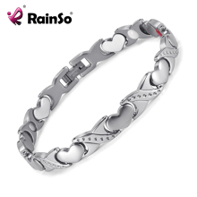 RainSo Lover's Titanium Magnetic Bracelet Germanium Negative Ion FIR Romantic Style Lover's Gift Women Men Bracelets(China)