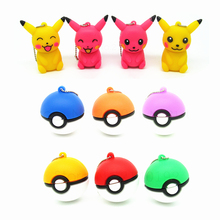 mini cartoon pen drive Pokemon model pen drive Pikachu/Pocket Monster/Poke Ball usb flash drive 8gb 16gb 32gb keychain pendrive