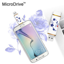 Blue and white porcelain USB 2.0 Flash Drive OTG 4g/8g/16g/32g Memory Stick For Android Phone Pen Drive USB Flash Drive(China)