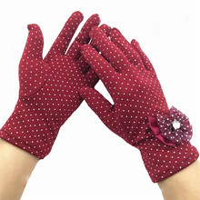 Fashion Female Lace Guantes Butterfly Knot Diamond Gloves Winter Warm Ladies Mittens White Dot For Women Wrist Length Glove G039(China)