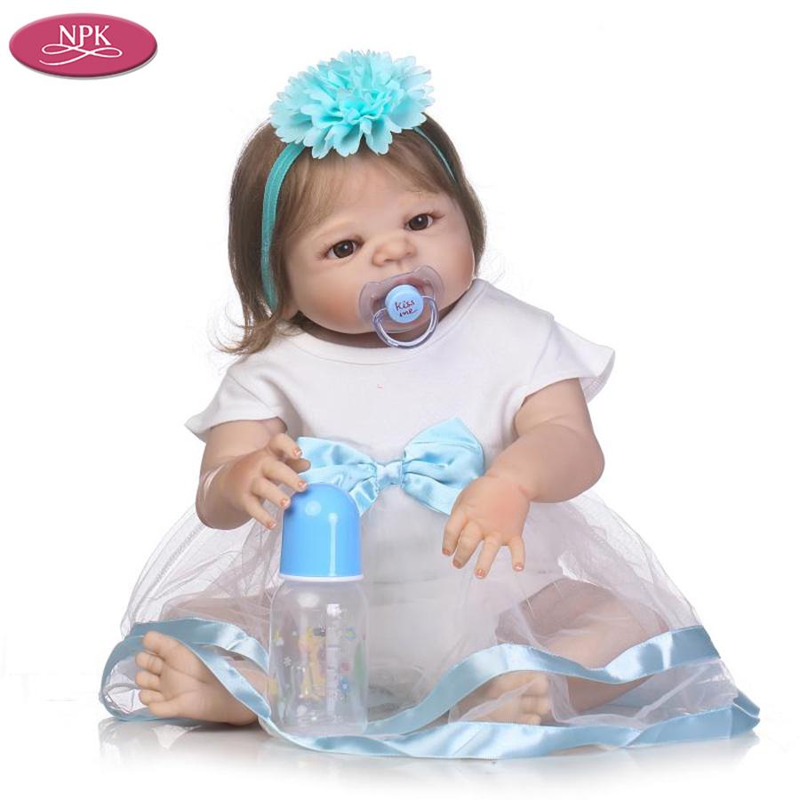 NPK 57CM Full SIlicone Vinyl Body Reborn Babies Children Bathe Doll Toys Lifelike Real Baby Girl Realista Bebe Reborn Bonecas (4)